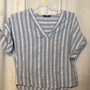 Tops - Shein medium blue and white top